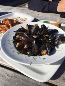 Enjoying a plate of Mussels on Clare Island